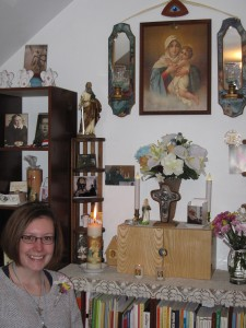 Sarah and Home Shrine Feb 2015